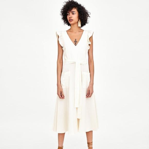563a744f7d Zara off white ruffle dress linen blend midi dress